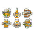 set different glasses beer with ribbon vector image vector image