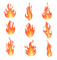 set fire flames vector image