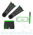 set for snorkeling mask with a tube fins and vector image