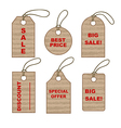 Set of cardboard tags vector image vector image