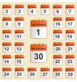 Set of icons for the calendar in September vector image vector image