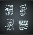 set of retro cars and trucs vintage logotypes vector image