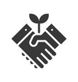shaking hand and tree green energy concept vector image vector image