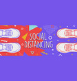 social distancing banner concept for protection vector image