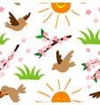 spring natural floral symbols seamless pattern vector image