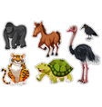 Sticker set with different wild animals vector image vector image
