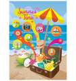 Suitcase with Summer Objects and Icons on Beach vector image vector image