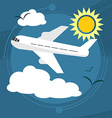 Sunny day The plane takes passengers to the resort vector image