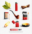 tobacco products transparent background set vector image vector image