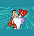 turkey patriot male sports fan flag heart vector image vector image
