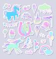 unicorn multicolor stickers with unicorn cloud vector image vector image