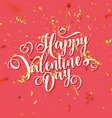 valentines day love oblique lettering with golden vector image vector image