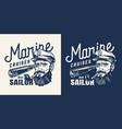 vintage marine cruise monochrome label vector image vector image