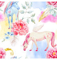 watercolor unicorn and pegasus pattern vector image vector image