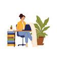 accountant character woman writing on computer vector image