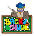 back to school sign with owl lector vector image vector image
