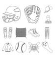 baseball and attributes outline icons in set vector image