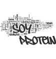 benefits of soy protein text word cloud concept vector image vector image