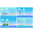 boating and wakeboarding jet ski and kitesurfing vector image vector image