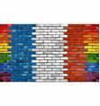 brick wall france and gay flags vector image