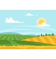 cartoon style of wheat field in a daytime vector image vector image