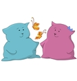 Cats friends and butterflies vector image vector image