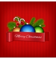 Christmas ball with red ribbon vector image vector image