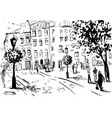 city landscape made ink on paper vector image vector image
