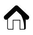 contour house object with roof and door vector image vector image