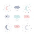 cute hand drawn smiling clouds and moon with vector image