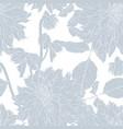 dahlia seamless pattern line flowers vector image