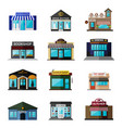 different shops buildings and stores flat icon vector image vector image