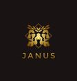 elegance gold janus god logo wearing leaf crown vector image vector image
