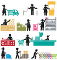 EMPLOYEES IN THE SUPERMARKET vector image vector image