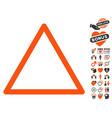empty warning trinagle icon with dating bonus vector image vector image