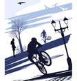 extreme cyclist doing tricks vector image