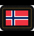 flag of norway icon on black leather backdrop vector image vector image