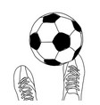 football player and soccer ball top view black and vector image