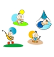 Funny childs playing sleeping and eating vector image vector image