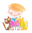 girl cat and dog reading book vector image