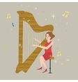 girl playing harp musical instrument with string vector image vector image