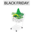 Green Trees and Plants in Black Friday Shopping vector image vector image