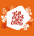 greeting card with text fall is in air orange vector image vector image