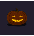 Halloween Grinning Pumpkin on Dark Background vector image