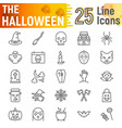 halloween line icon set spooky symbols vector image
