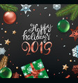 happy holidays concept top view vertical vector image vector image