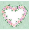 heart frame decorated with roses on polka dots vector image vector image