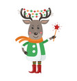 isolated cute deer is dressed in winter clothes vector image