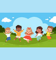 jumping kids in playground sunny weather and vector image vector image