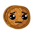 kawaii cute sad waffles with honey vector image vector image